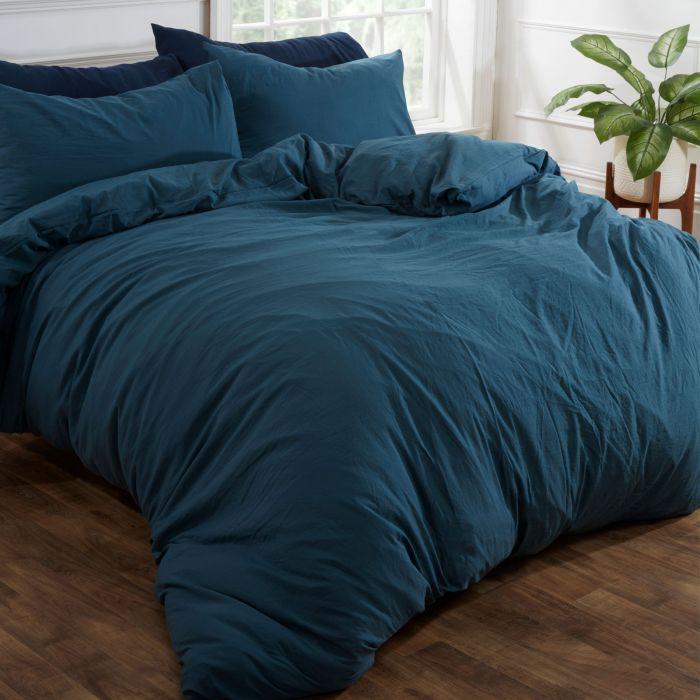 Ords Washed Linen Duvet Cover Set, Teal Bedding Queen