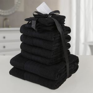 10pc 500gsm Cotton Towel Bale - Black