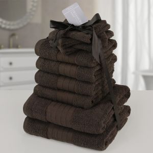 10pc 500gsm Cotton Towel Bale - Chocolate