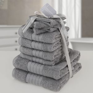 10pc 500gsm Cotton Towel Bale - Grey