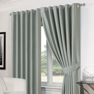 "Luxury Basket Weave Lined  Eyelet Curtains with Tiebacks - Duck Egg 66""x54"""