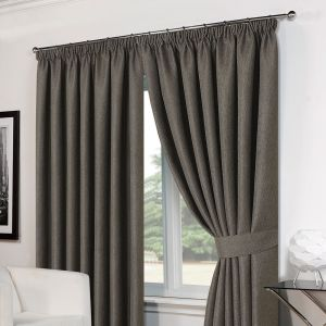 Basket Weave Tape Top Curtains - Charcoal