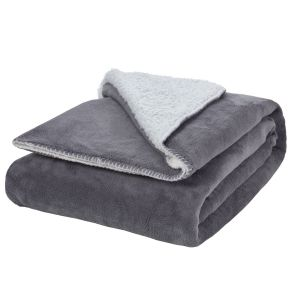 Brentfords Sherpa Flannel Fleece Throw Blanket, Grey/White - 150 x 180cm