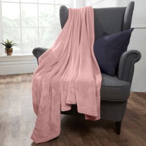 Brentfords Supersoft Throw, Blush Pink - 150 x 200cm