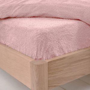 Brentfords Teddy Fleece Fitted Sheet, Blush Pink - Super King