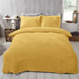 Brentfords Teddy Fleece Duvet Cover Set - Ochre