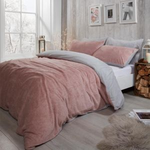Brentfords Teddy Fleece Reversible Duvet Cover Set, Blush Pink/Grey - Single