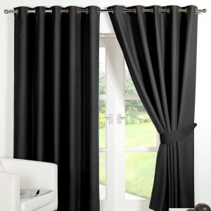 Dreamscene Eyelet Blackout Curtains - Black