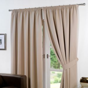 Pencil Pleat Thermal Blackout Curtains - Beige