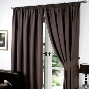 Pencil Pleat Blackout Curtain - Chocolate