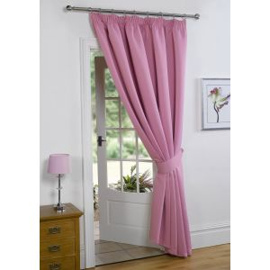 Thermal Pencil Pleat Blackout 1 Door Curtain Ready Made Lined - Pink 66x84