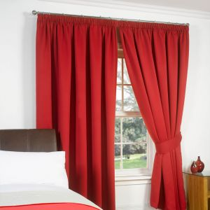Pencil Pleat Blackout Curtain - Red