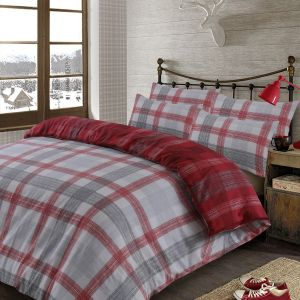 Dreamscene Boston Brushed Cotton Duvet Cover Set - Red