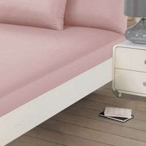 Brentfords Plain Fitted Bed Sheet - Blush Pink