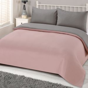 Brentfords Reversible Duvet Cover Set - Blush/Grey