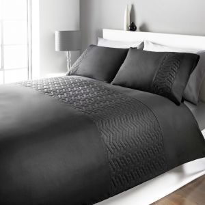 Brentfords Pinsonic Duvet Cover Set - Black