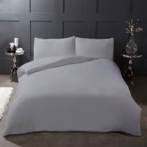 Highams 100% Brushed Cotton Flanelette Duvet Cover Set - Grey Silver