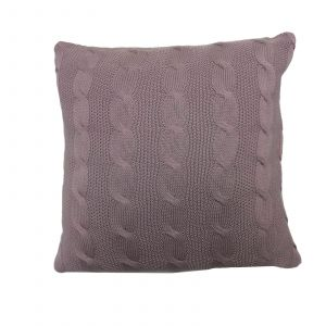 Highams Cable Knit 100% Cotton Cushion Cover - Muted Heather