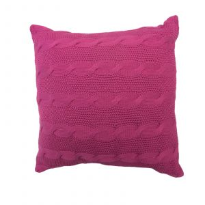 Highams Cable Knit 100% Cotton Cushion Cover - Pink