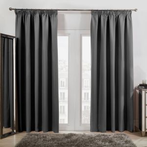 Pencil Pleat Thermal Blackout Curtains - Charcoal