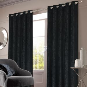 Sienna Home Crushed Velvet Eyelet Curtains - Black