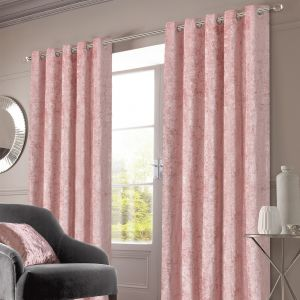 Sienna Home Crushed Velvet Eyelet Curtains - Blush