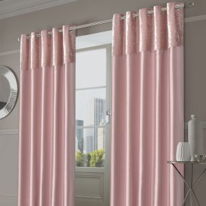 Sienna Home Manhattan Crushed Velvet Band Eyelet Curtains - Blush