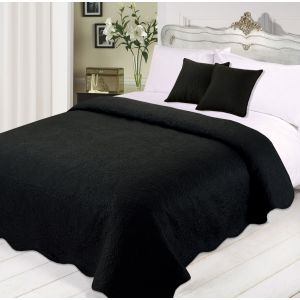 Quilted Embossed Bedspread with Cushions Set -Black
