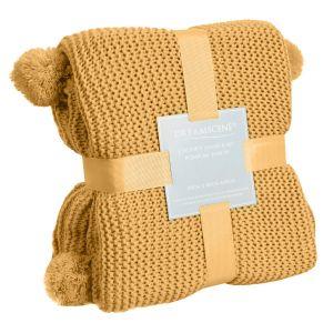 Dreamscene Large Chunky Knit Pom Pom Throw, Mustard Yellow Ochre - 150 x 180cm