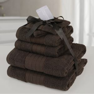 6pc 500gsm Towel Bale - Chocolate