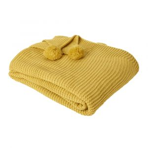 Large Chunky Knit Pom Pom Throw, Mustard Yellow Ochre - 150 x 180cm