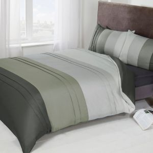 Brentfords Colour Block Duvet Set - Grey Silver