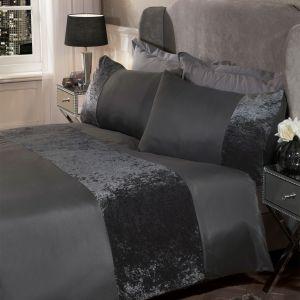 Double Decadent Velvet Stripe Duvet Set- Charcoal