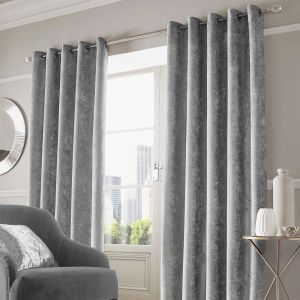 Sienna Home Crushed Velvet Eyelet Curtains - Silver