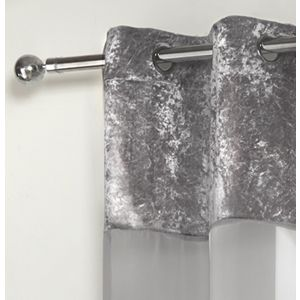 "Sienna Crushed Velvet Voile Net Curtains Eyelet, Silver Grey - 55"" x 87"""