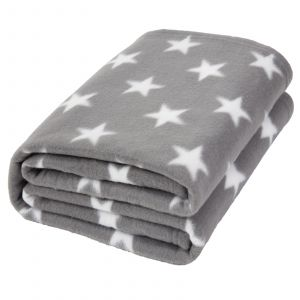 Dreamscene Star Print Fleece Throw, Grey - 120 x 150 cm
