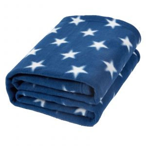 Dreamscene Star Print Fleece Throw, Navy - 120 x 150 cm
