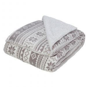 Dreamscene Nordic Print Sherpa Fleece Throw, Grey/White - 150 x 180cm