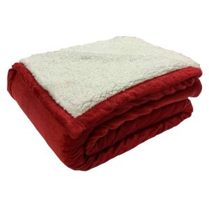 Dreamscene Plain Sherpa Fleece Throw, Red - 150 x 180cm