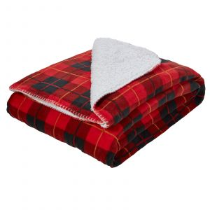 Dreamscene Large Tartan Sherpa Flannel Fleece Throw Blanket, Check Red - 150 x 180cm
