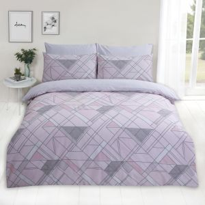 Dreamscene Abstract Lines Duvet Set, Pink - Double