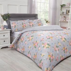 Dreamscene Blushing Rose Duvet Set - Grey