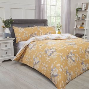 Dreamscene English Rose Duvet Cover Set - Ochre