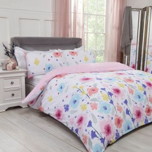 Dreamscene Watercolour Floral Duvet Cover Set - Blush