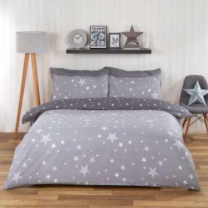 Dreamscene Stars Duvet Set - Grey