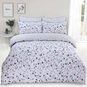 Dreamscene Terrazzo Geometric Duvet Cover Set - Blush Pink