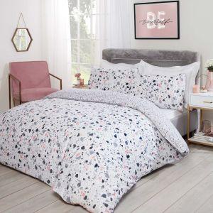 Dreamscene Terrazzo Geometric Duvet Cover Set - Blush Pink