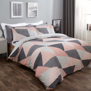 Dreamscene Textured Geometric Duvet Set - Blush Pink