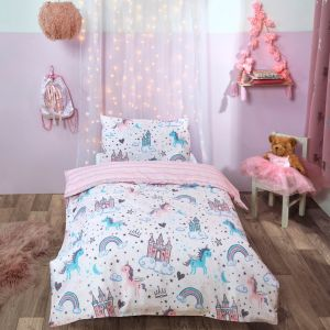 Dreamscene Unicorn Kingdom Junior/Cot Duvet Set - Pink