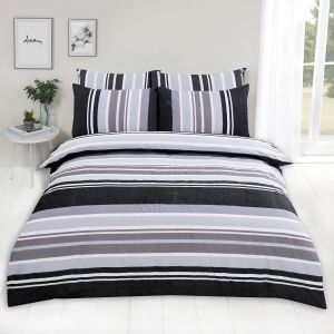 Dreamscene Wide Stripe Duvet Set - Charcoal Grey